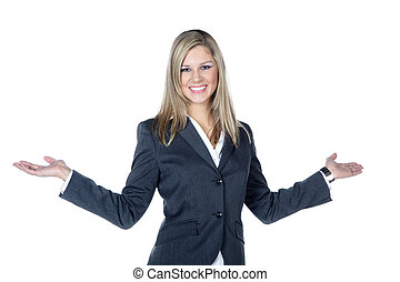 business woman pointing at space