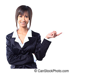 Business woman pointing at white background
