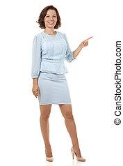 business woman pointing - beautiful brunette wearing blue ...