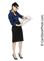Business Woman Pointing Document