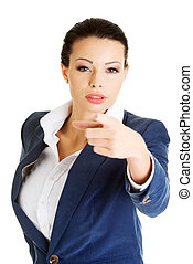 Business woman pointing on you