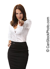 business woman pointing out