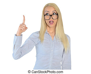 Business woman pointing up shocked