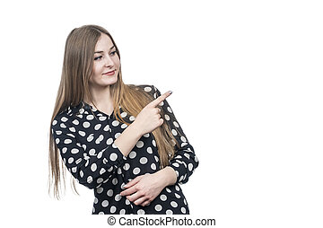 business woman points sideways