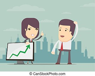 Business woman points to chart of profit