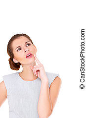 Business woman portrait isolated over a white background