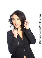 Business woman portrait, isolated over a white background