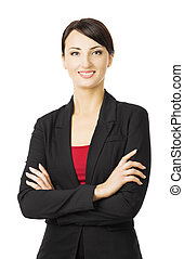 Business woman portrait, isolated over white background
