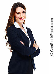 Business woman. - Portrait of happy young business woman ...