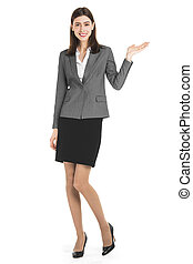 Business woman presenting a copyspace