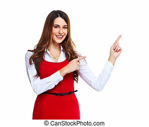 Business woman presenting a copyspace. - Portrait of happy...