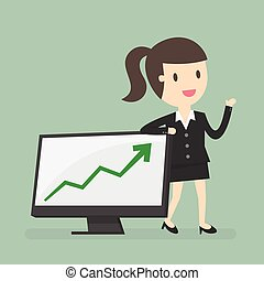 Woman Presenting - Business Woman Presenting Business Growth...