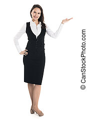 Business woman presenting copyspace