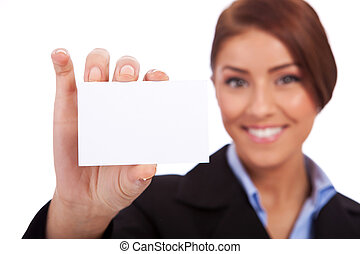 business woman presenting her visiting card