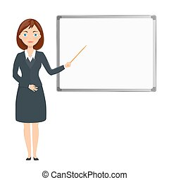 business woman presenting on white blank board