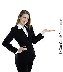 Business woman presenting something on the right side of the image. Isolated on white background.