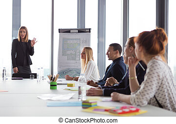 Business woman presenting the project in modern office.