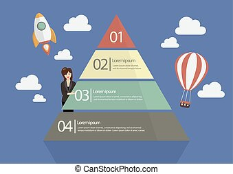 Business woman presenting the Pyramid Chart Infographic