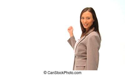 Business woman presenting us someth