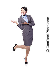 business woman presenting with copy space
