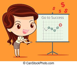 business woman presenting with success brief