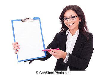 business woman presents clipboard - young business woman...
