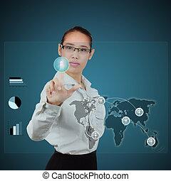 Business Woman pressing an Virtual button