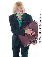 Business Woman Protecting Her Briefcase