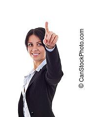 business woman pushing a imaginary button