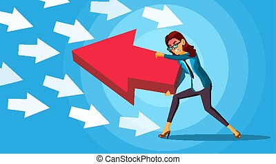 Business Woman Pushing Arrow Vector. Opponent Concept. ...