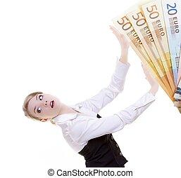 Business woman pushing dirty money euro away. Corruption.