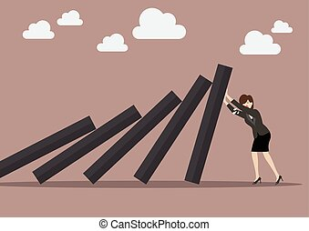 Business woman pushing hard against falling deck of domino...