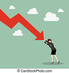 Business woman pushing hard against falling graph down