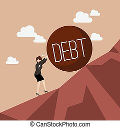 Business woman pushing heavy debt uphill
