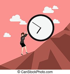 Business woman pushing huge clock uphill