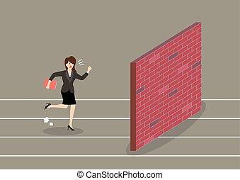 Business woman race to dead end. Business concept