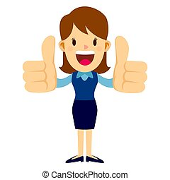 Business Woman Raise Two Thumbs Up