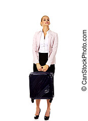 Business woman raising her suitcase