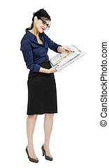 Business Woman Reading File