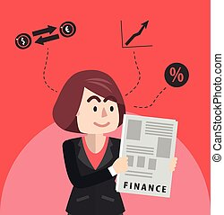 Business woman reading financial re