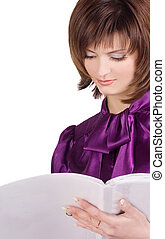 business woman reading the magazine over white