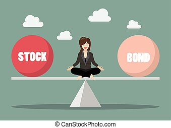 Business woman rebalancing portfolio