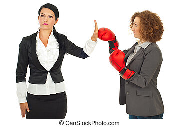 Business woman refuse fight - Serious business woman give...