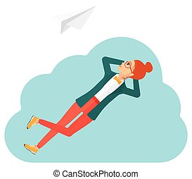 Business woman relaxing on cloud.