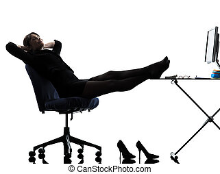 business woman resting pause silhouette - one caucasian ...