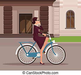Business woman riding bicycle