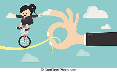 Business Woman riding on the bike On risk