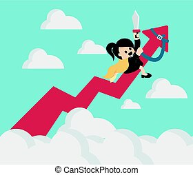 Business woman riding success arrow graph up to sky