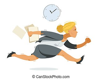 Business woman run and hurry late vector illustration, funny comic cute cartoon accountant or businesswoman worker or employee in a rush.