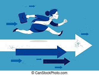 Business woman run and hurry on arrows symbolizes career competition motivation vector illustration, funny comic cute cartoon businesswoman worker or employee in a rush to success.